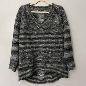 Michael Stars Gray Fuzzy Ladder Stitch Sweater - M